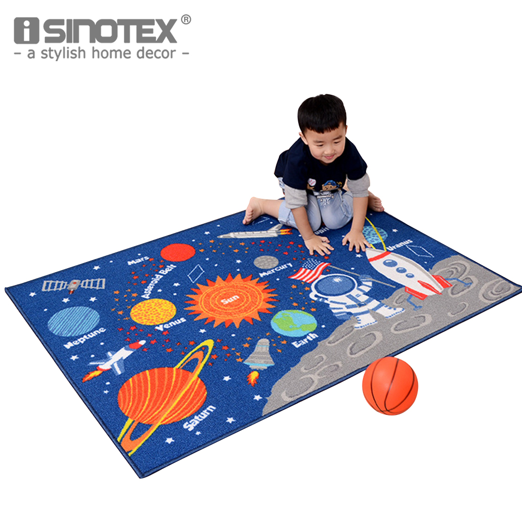 1PCS 39 54 Children Solar System Carpet Soft Thicken Outer Space Stars Area Rug for Kids
