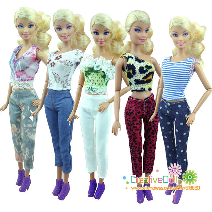 5sets Fashion Handmade Casual Style 5 Clothes + 5 Trousers pants Outfits For Barbie Doll Girls birthday new year Gift for kids european style 2016 new fashion jeans men print flowers slim trousers casual straight brand design skinny pants hot sales 0245