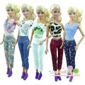 5sets Fashion Handmade Casual Style 5 Clothes + 5 Trousers pants Outfits For Barbie Doll Girls birthday new year Gift for kids