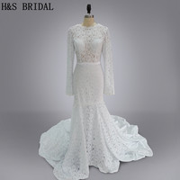 Real Model 2016 Lace Wedding Gown White Elegant Long Sleeves See Through Sexy Lace Wedding Dresses
