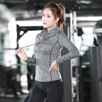 Eshtanga Yoga Shirts High Collar Women Autumn Long Sleeve Sports T Shirt Fitness Gym Running Shirt