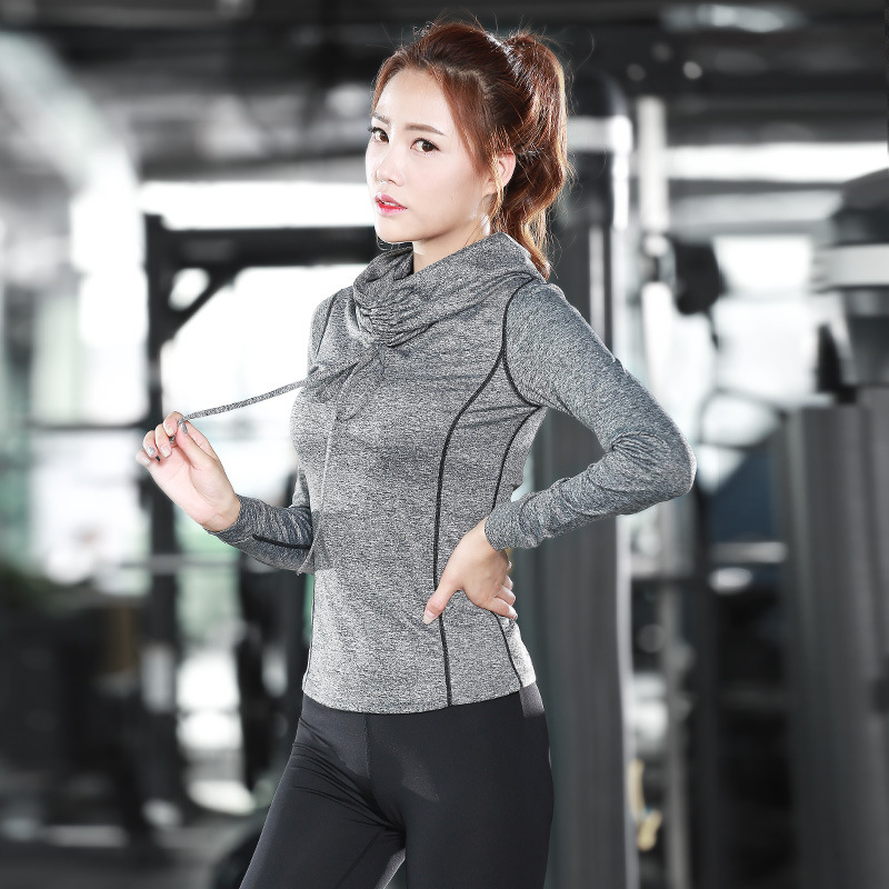 Eshtanga yoga shirts High Collar Women autumn long Sleeve Sports T Shirt Fitness Gym Running shirt Quick Dry Yoga elastic tops tie sleeve skew collar t shirt