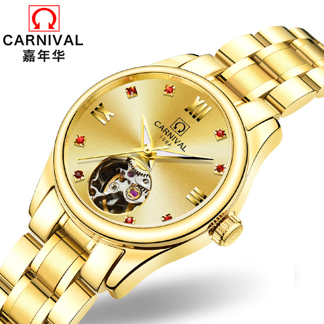 Carnival Women Gold Watches Hollow Mechanical Watch Stainless Steel Sapphire Waterproof Wristwatch relogio feminino ladies