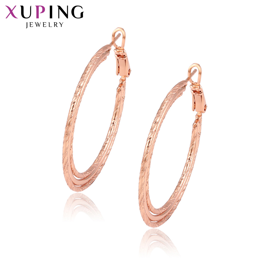 11.11 Deals Xuping Fashion Earrings Hoops Rose Gold Color Plated for Women Girls Black Friday Jewelry Gifts S83,2-95433