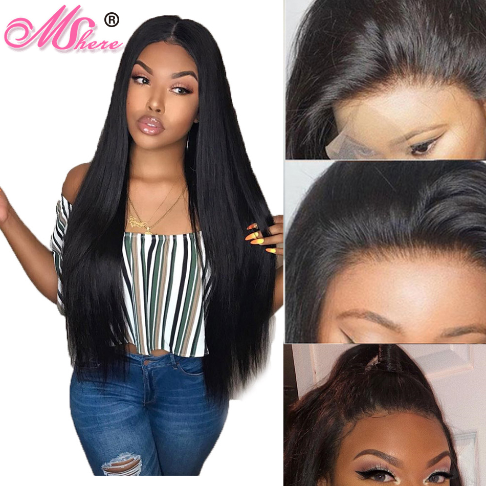 Mshere Hair Lace Front Human Hair Wigs For Women Pre Plucked 150 Peruvian Straight Remy Hair