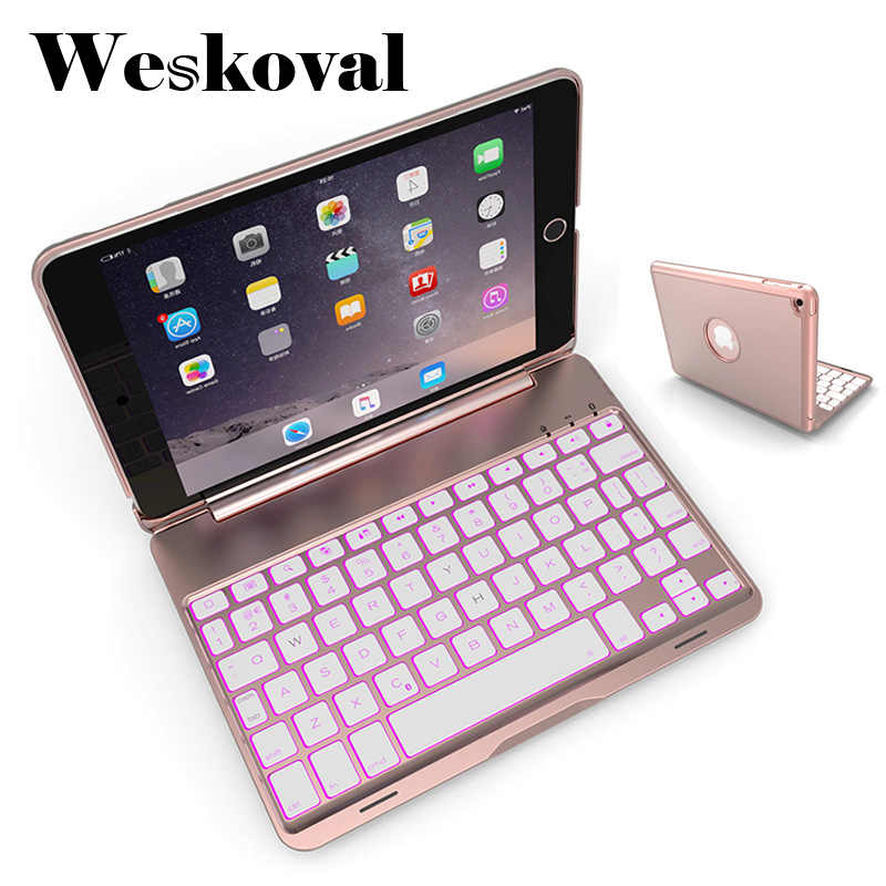 Wireless Bluetooth Keyboard For iPad Mini 4 Slim Case For iPad Mini 4 7.9 inch Tablet Aluminum Alloy Stand Cover Flip Capa +Pen