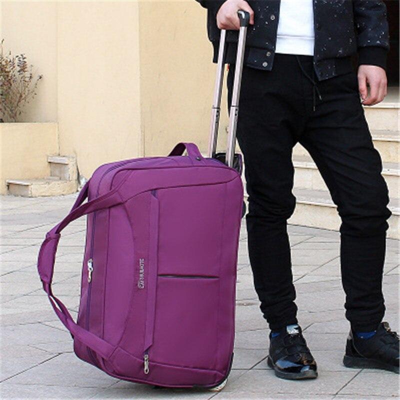 2019 Roues sac de voyage à roulettes Femmes Voyage Sacs Chariot À Main sac unisexe Grande Capacité Sacs de Voyage valise à roulettes