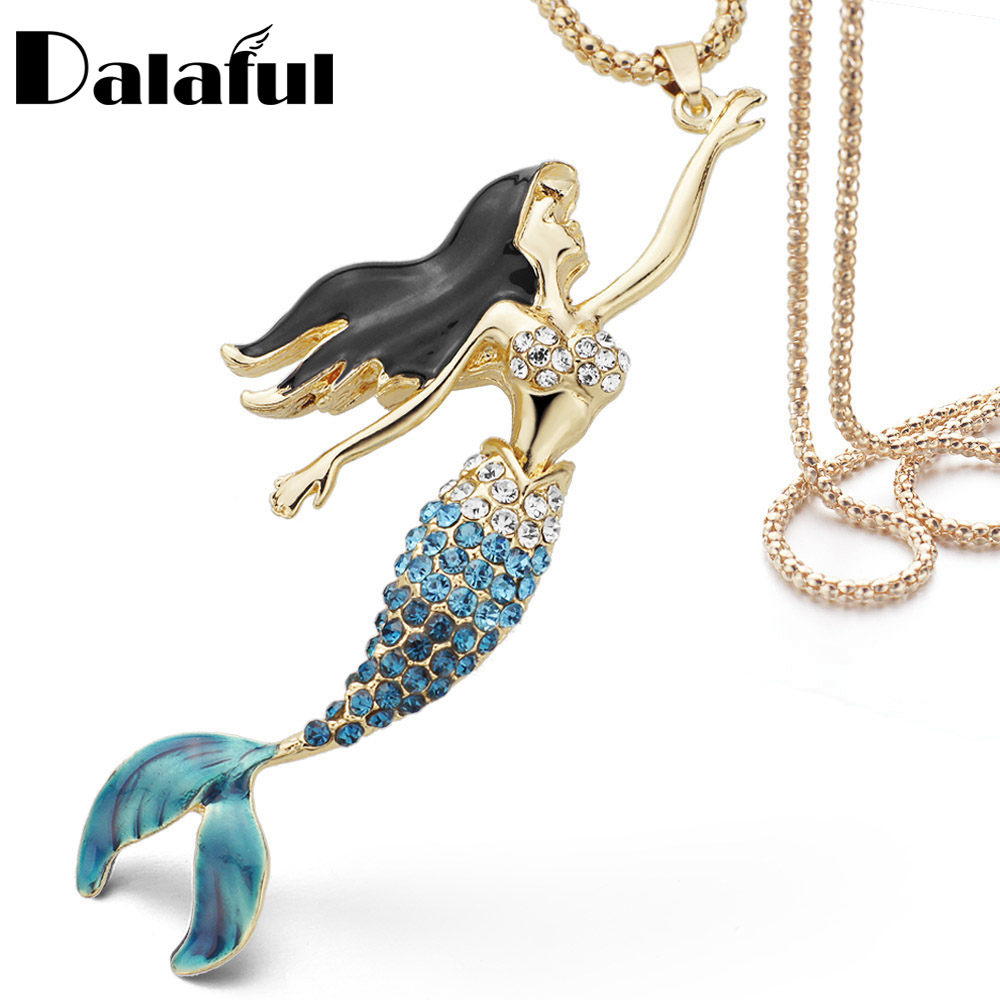 Enamel Crystal Mermaid Fashion Bohemian Long Chain Necklaces Pendants For Women X600