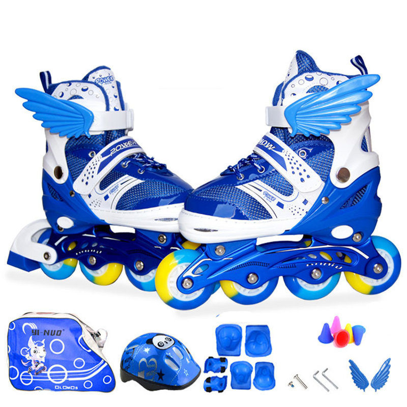 20pcs in A Set Children Kids Inline Skate Roller Skating Shoes Helmet Knee Protector Gear Adjustable Flashing Wheels Patines 7pcs xiaomi skating cycling helmet knee pads elbow wrist brace set
