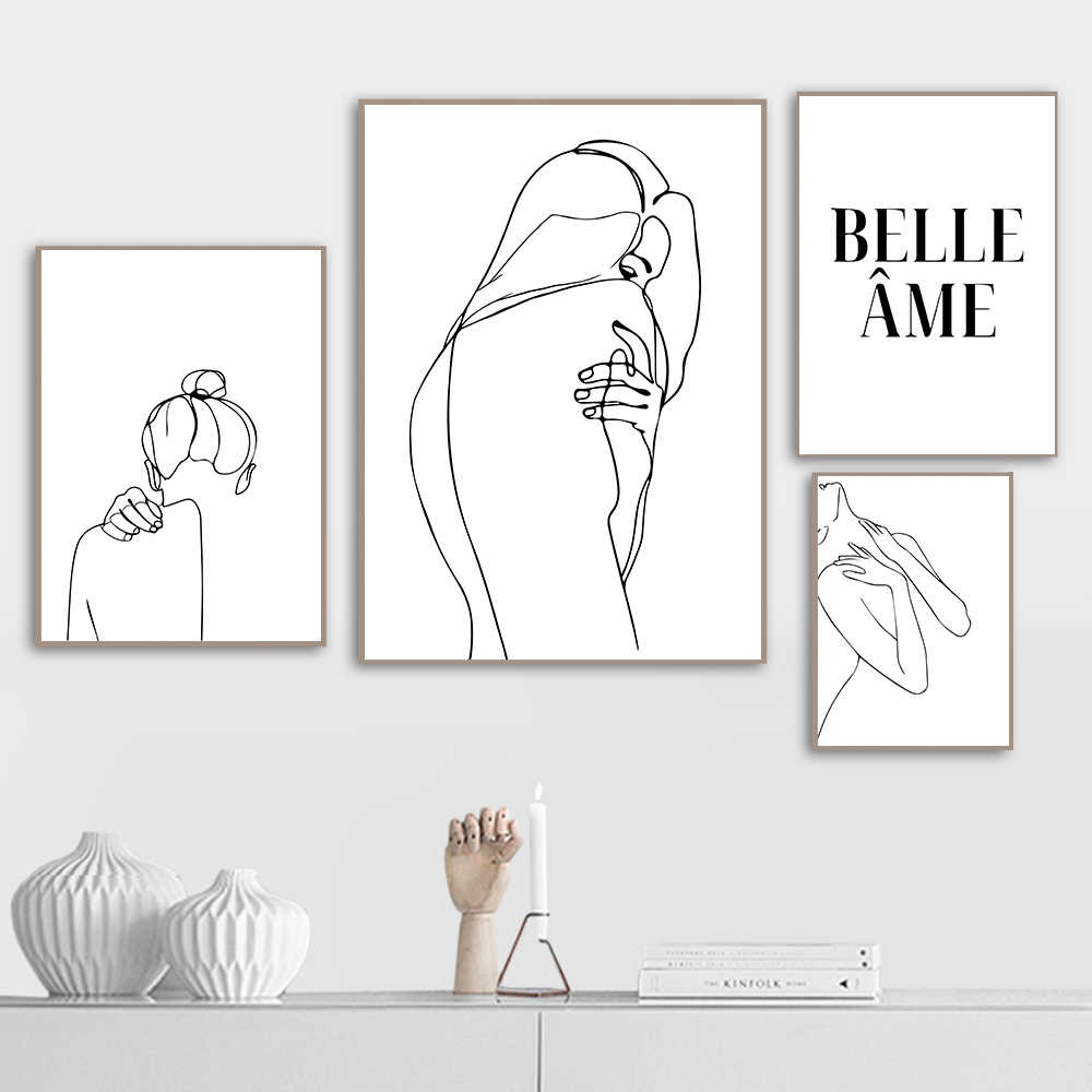 One Line Drawing Poster Nude Abstract Woman Body Wall Art Canvas Painting Female Art Print Black And White Pictures Home Decor