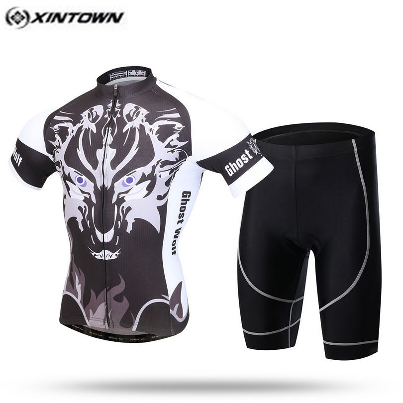 XINTOWN Pro Bike Jersey Bib Shorts Sets Men Riding mtb Bicycle Clothing Suits Animal Black Male