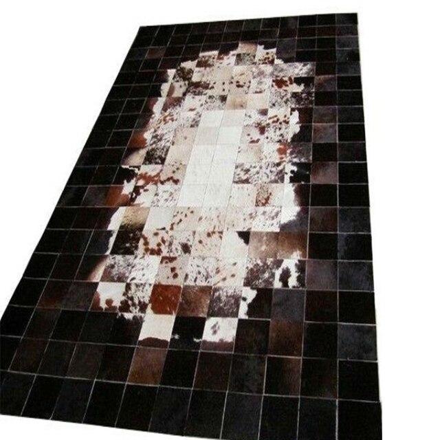 marrn oscuropuntoblanco natural de cuero de vaca patchwork alfombra moderna alfombra alfombras - Alfombra Moderna