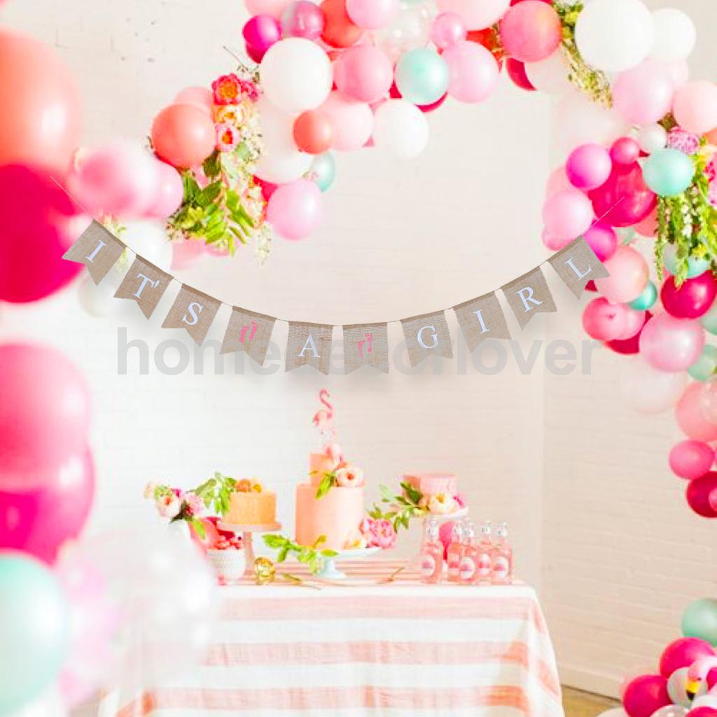 Photo props it 39 s a girl baby shower banner bunting garland for It s a girl dekoration