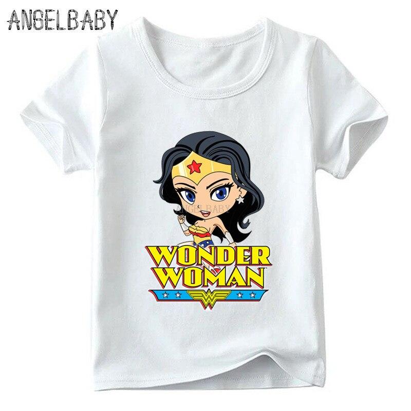 Boys/Girls Wonder Woman Cartoon Print T-shirt Kids Summer Short Sleeve Tops Baby Superhero Funny T Shirt,ooo5211