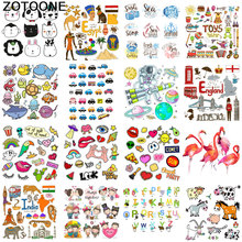 ZOTOONE Cute animal cartoon combination ironing transfer vinyl heat sticker T-shirt hot patch clothing iron D