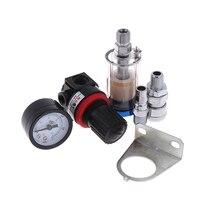 New High QualitySpray Paint Gun Air Regulator Gauge & In-line Air Oil Water Separator Filter Kit