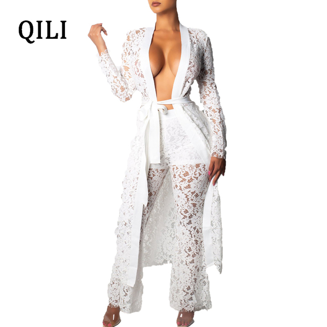 3ead94bd5719 QILI Women Long Cover Blouse Jumpsuits Sexy See Through Lace White Black Wide  Leg Jumpsuit With Belted Party Club Casual Overall