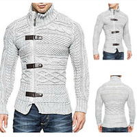 Zogaa New Men Autumn Cardigan Sweater Coat Fashion Casual Male Clothing Slim Fit Warm Knitting Mens Turtleneck Jumper Sweaters