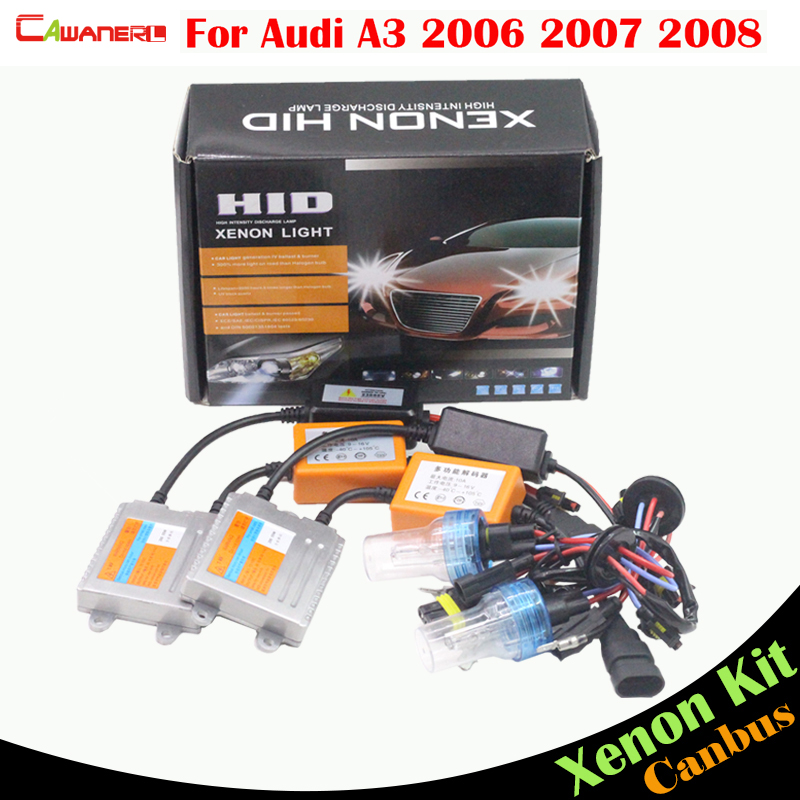 Cawanerl 55W No Error HID Xenon Kit Canbus Bulb Ballast AC 3000K-8000K Car Headlight Low Beam For Audi A3 2006 2007 2008 buildreamen2 55w 9005 hb3 h10 car light headlight canbus hid xenon kit 3000k 8000k ac ballast bulb decoder anti flicker no error