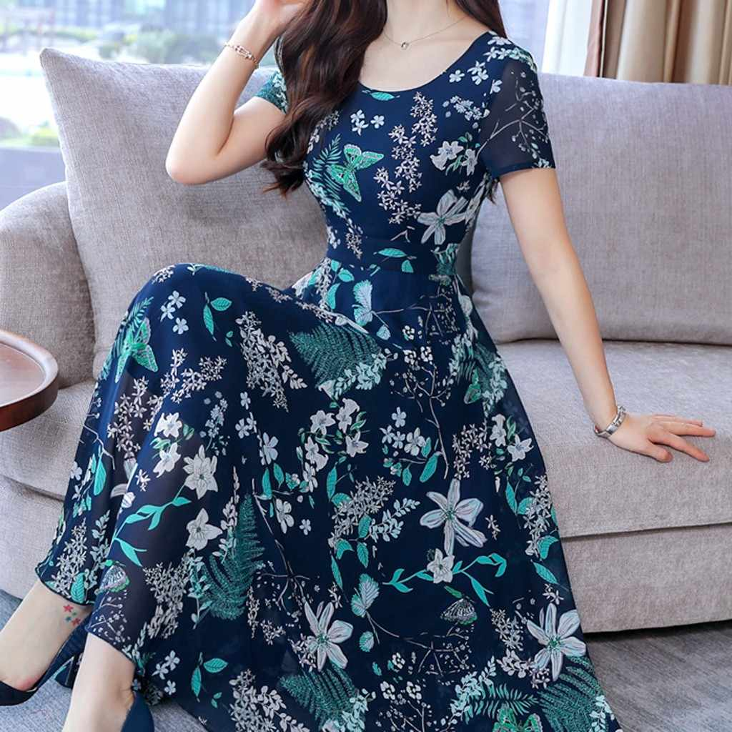 Maxi Long Summer 2019 Dress with Bohemian Style Floral Print for Beach Casual Short Sleeve Dress Party Dresses Plus Size