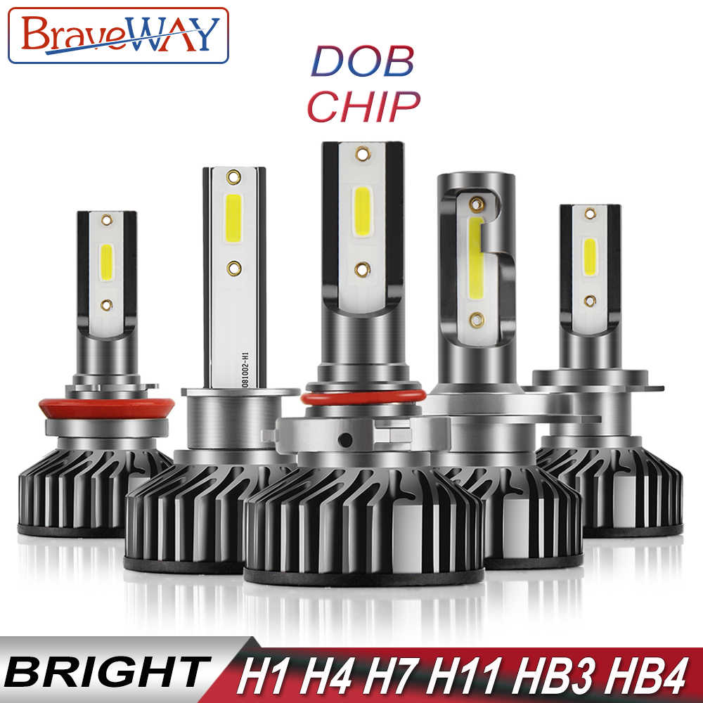 BraveWay DOB Chip LED Headlight Bulb H1 H4 H7 H8 H11 HB3 HB4 Light Bulb for Car Turbo Ampoule Auto Lamp H8 kit LED H7 Canbus