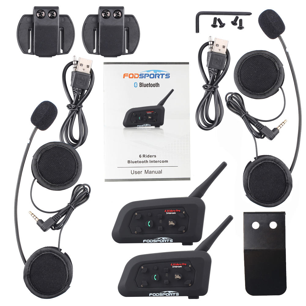 Sports nautiques 2 PIÈCES V6 Pro Moto Casque Bluetooth Casque Interphone 6 coureurs 1200 M Sans Fil Intercomunicador BT Interphone - 6