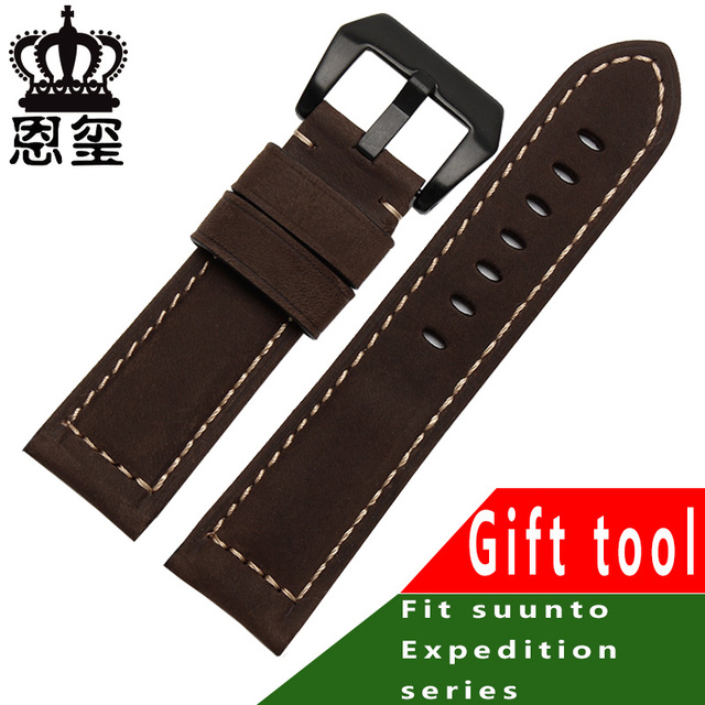 Genuine leather wristband 20mm 22mm 24mm 26mm brown khaki bracelet with stainless steel buckle men's style | Watchbands