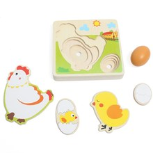 Multilayer Chicken Growth Hen Growing Up Story Cartoon Children Kids Wooden Puzzles Panel Process Emulational Eggs Baby Toys