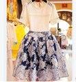 Летний стиль в европе и америке мода кружева крючки пронзили комплект из двух частей юбка для женщин / девочка комплект одежды