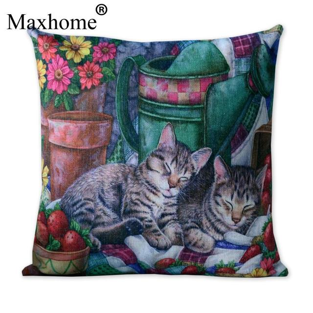 American Country Cat Cotton Linen Pillowcase French Rural Home Decor Interesting Country Throw Pillows Decorative