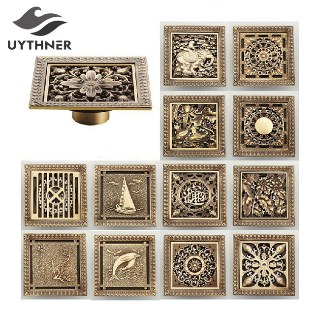 Uythner Shower Drains 12*12cm Square Bath Drains Strainer Hair Antique Brass Art Carved Bathroom Floor Drain Waste Grate Drain