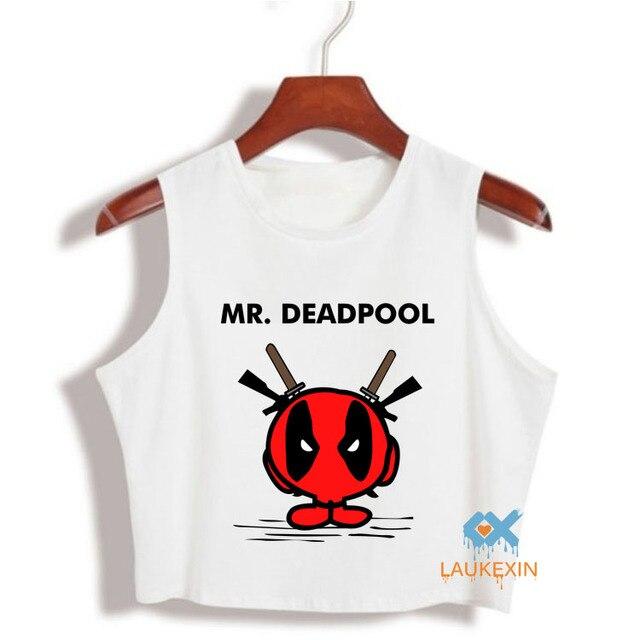 Funy Deadpool Tank Top T Shirt American Comic Crop Top tShirt Cartoon Characters Cropped Harajuku camiseta Cotton T-Shirt Tops