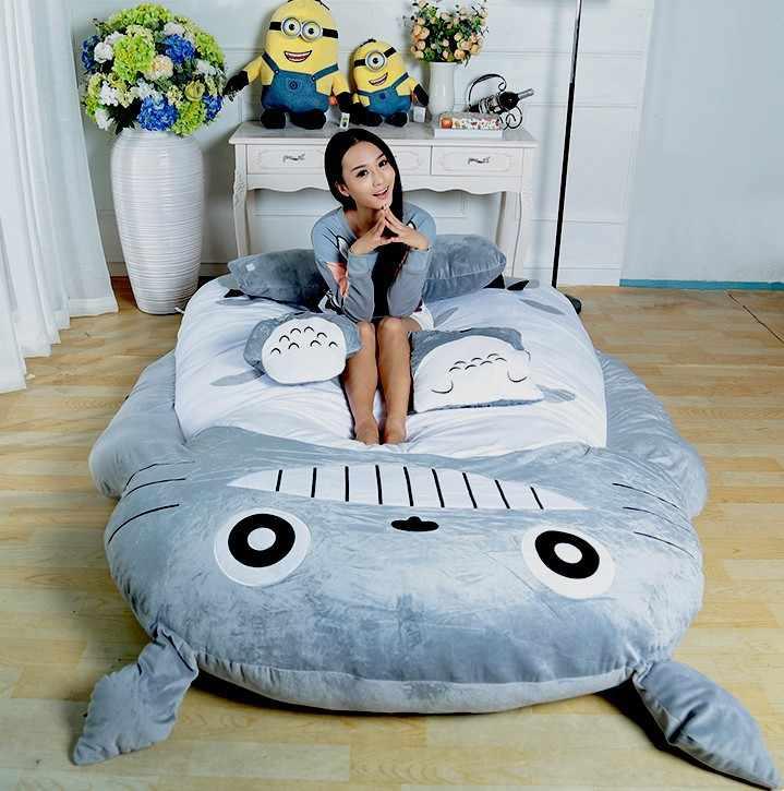 Ukuran Desain Lucu Lembut Tidur Totoro besar Malas Sofa Kamar Tidur Tidur Kantong tidur 100% Katun Kasur Untuk Menutupi
