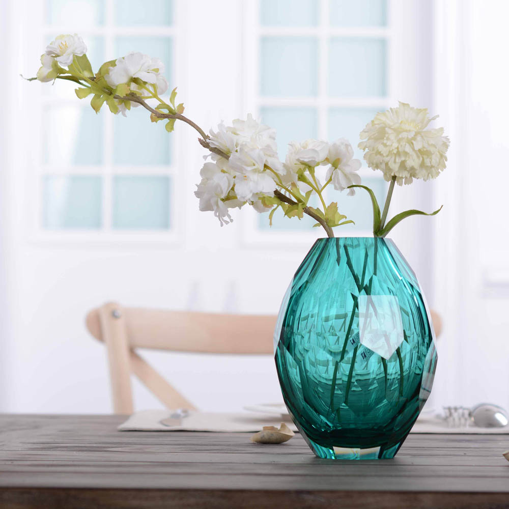 CASAMOTION Vase Hand Polishing Home Art Decoration Vase for Room Decals Glass Vase Hand blown Vintage Elegant Flower Vase