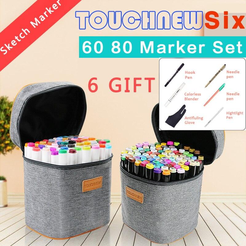 Touchnew 60 80 couleurs double tête marqueur stylo ensemble pour école croquis marqueurs pinceau stylo pour dessiner Manga mode Design Art fournitures