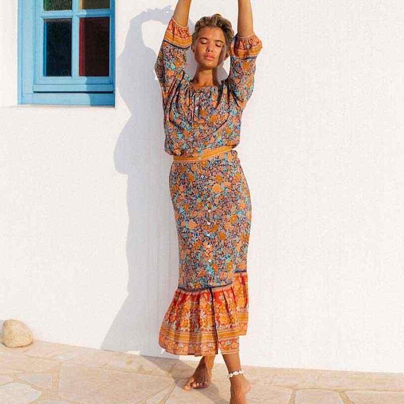 a4102be22 Boho Inspired Skirt floral print Gypsy Skirts women High Waist Buttons down  Bohemian chic Long Skirt