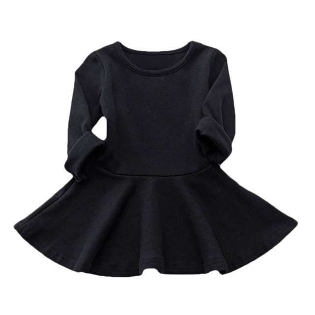 Hot Sale Girls Dresses For Kids Candy Color Long Sleeve A Line Solid