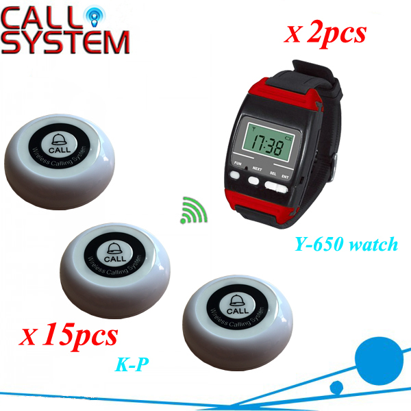 Paging Button Store 2 Wrist watch with 15 buzzer Wireless Restaurant Table Bell System restaurant pager watch wireless call buzzer system work with 3 pcs wrist watch and 25pcs waitress bell button p h4
