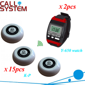 Paging Button Store 2 Wrist watch with 15 buzzer Wireless Restaurant Table Bell System