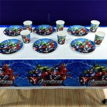 22pcs/set Avenger Theme Party Supplies Tableware Talecloth Plate Cup Flag Birtday Favors Shower Favor Decoration