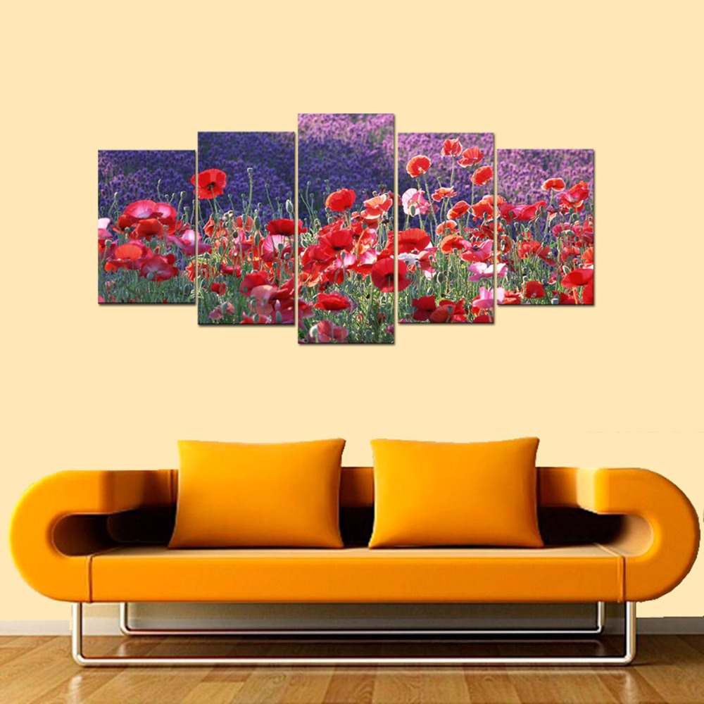 5Panel Print Red Poppy Flower Landscape Oil Painting on Canvas ...