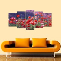 Modular Pictures The Red Poppies Flowers Spray Canvas Prints Wall Decoration Modern Landscape HD Giclee Canvas