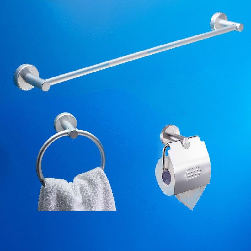 Bathroom Accessories Space Aluminum 3pecs Bathroom Hardware Set Single  Towel Bar Towel Ring Paper Holder Hardware Kits