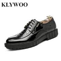 KLYWOO Autumn British Leather Men Shoes Brogue Lace Up Platform Fashion Men Formal Shoes Oxford For