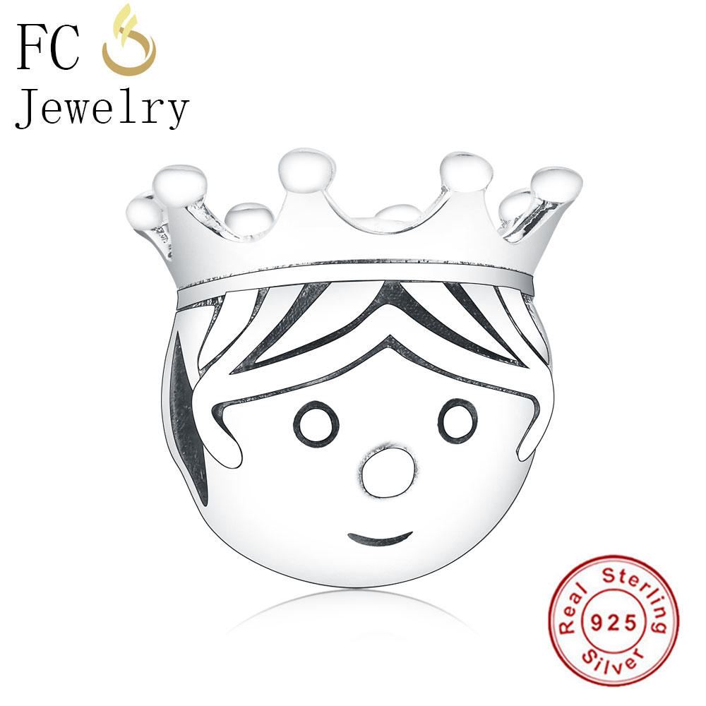Fit Original Pandora Charms Bracelet 925 Silver King Charm Boy Face With Crown Beads Berloque 925 Silver DIY Jewelry Bijoux