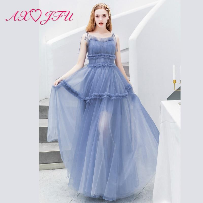 AXJFU princess Blue lace Bride Salute Dinner Annual Party evening Dress luxury spaghetti strap blue bow evening dress 2782