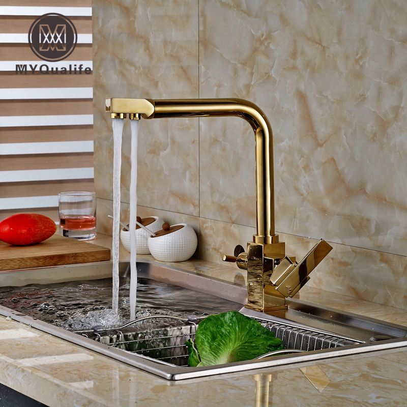 Brand New Golden Dual Handles Kitchen Mixer Tap Faucet Pure Water Filter Deck Mount new kitchen sink faucet tap pure water filter mixer dual handles with 6 inch hole cover plate brushed nickle