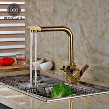 Фирменная новинка золотой двойной ручки Кухня Смеситель кран чистой воды фильтр Палуба Гора