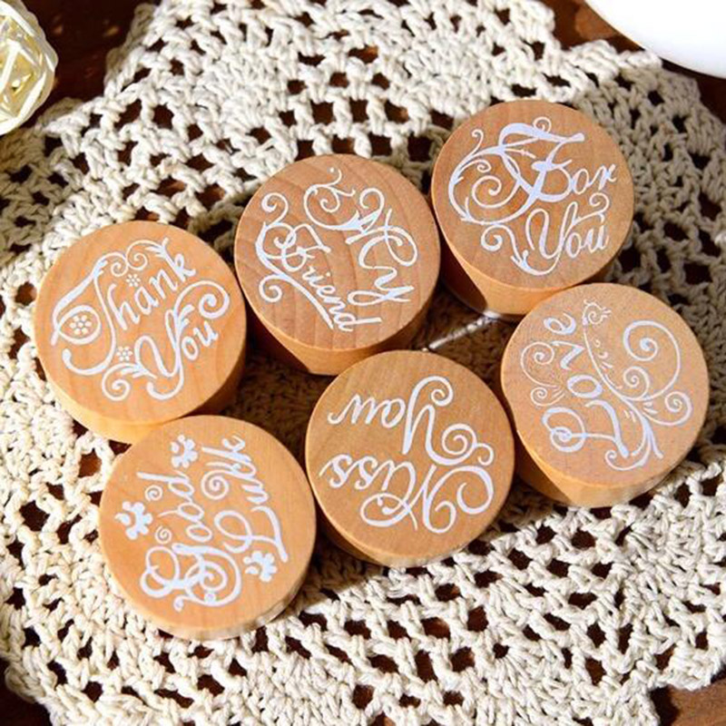 6 pcs/lot DIY Blessing Vintage Wooden Rubber Stamp Thank You Miss You Love Stamps for Decoration Scrapbooking Free shipping 608 diy wooden vintage classic retro lace flower decoration stamp for diary scrapbooking creative gift free shipping 664