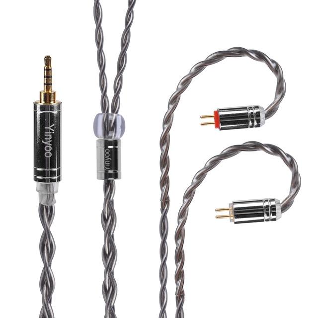 Yinyoo 4 núcleo 7n único cabo de cobre cristal 2.5/3.5/4.4mm occ prata chapeado cabo com conector mmcx para a lata as10 t2 t3 c16